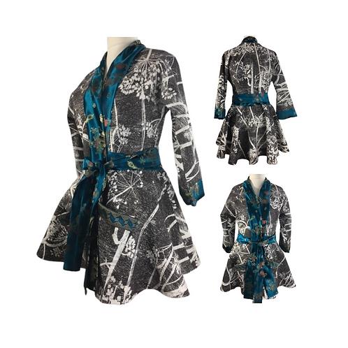 Black white print kimono jacket with turquoise silk jacquard
