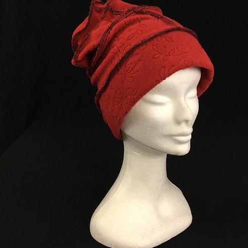 Lightweight red fleece hat