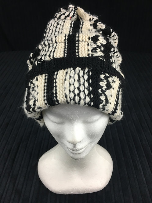 Black and white knit hat