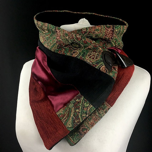 Black, pink and tapestry neckwamer