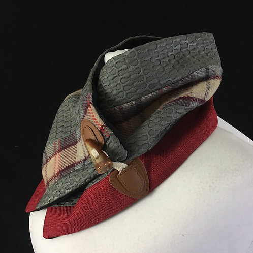 Red grey and plaid neck warmer