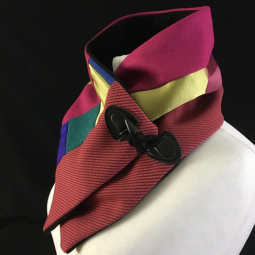 Red pink and lime neck warmer