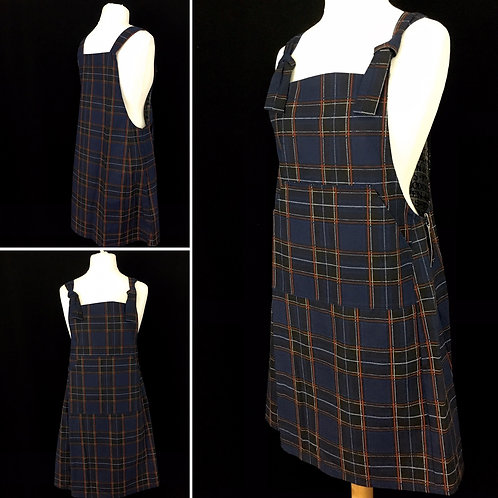 Navy plaid pinafore