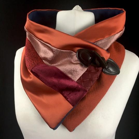 Orange pink and burgundy neck warmer