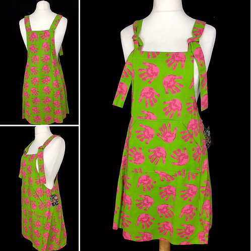 Lime green and pink hand print pinafore