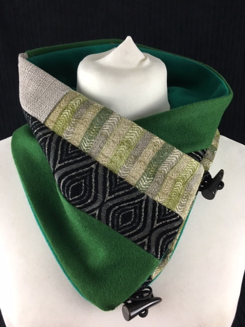 Green and black neck warmer
