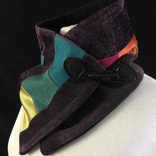 Purple patchwork neck warmer