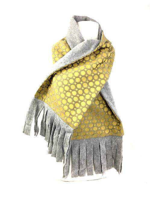 Gold circle print reversible scarf