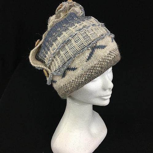 Grey beige and polka dot hat