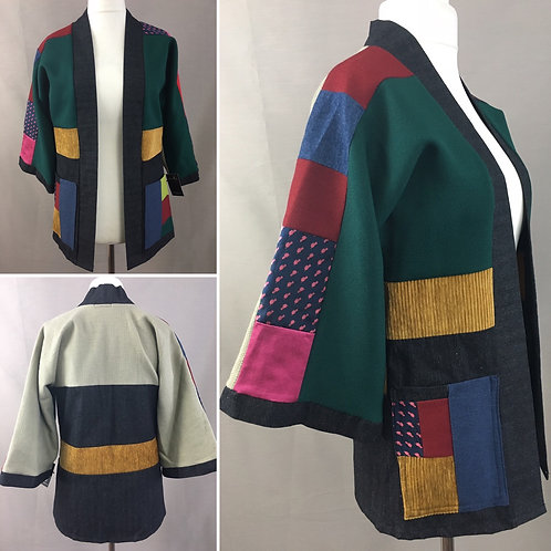 Patchwork kimono with greens reds pinks and mustard