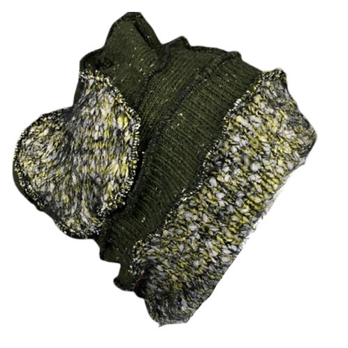 Cozy upcycled green patchwork knit hat