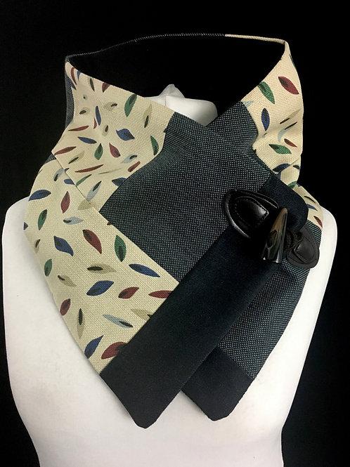 Retro print patchwork neck warmer