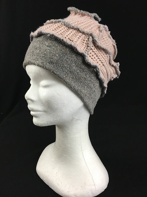 Grey hat with soft peach accent