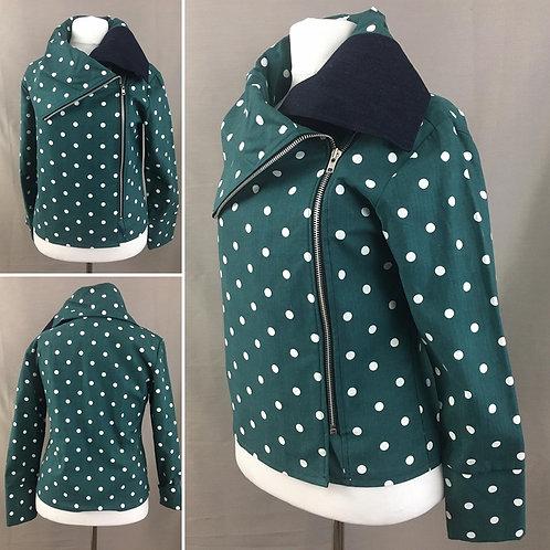 Lightweight green polka dot jacket