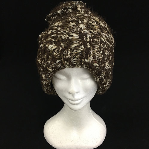 Brown chunky knit hat with soft fleece lining