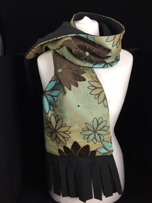 Retro brown and blue floral scarf