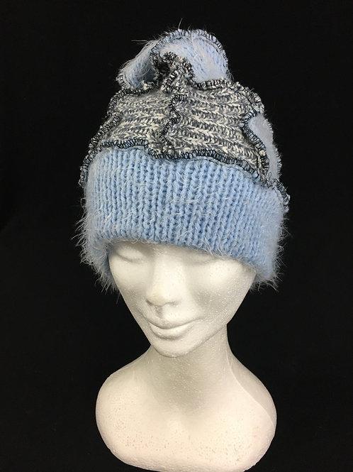 Super soft baby blue patchwork hat