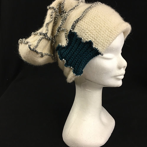 Cream hat with blue accent