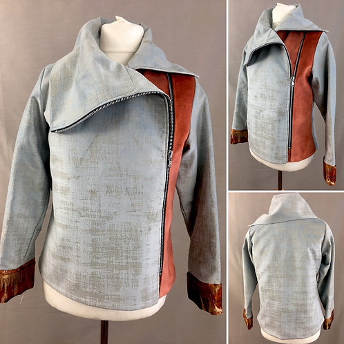 Light grey velvet asymmetrical jacket