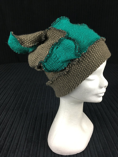 2 tone green upcycled hat