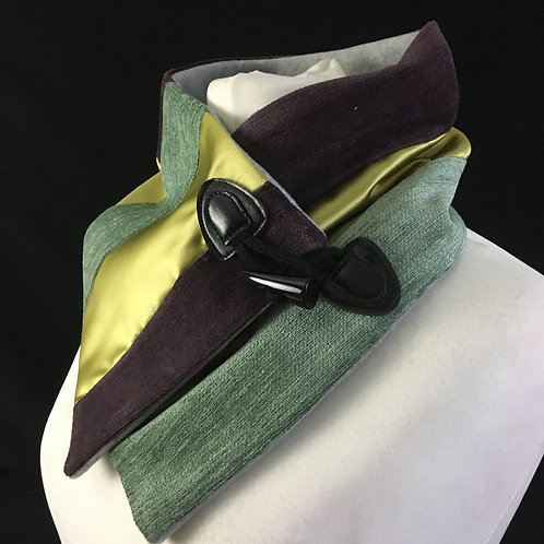 Greens and purple velvet neck warmer