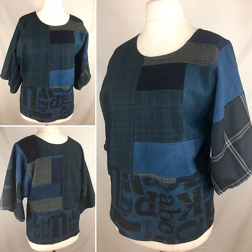 Handmade oversized patchwork tunic with shades of blue cotton linen.