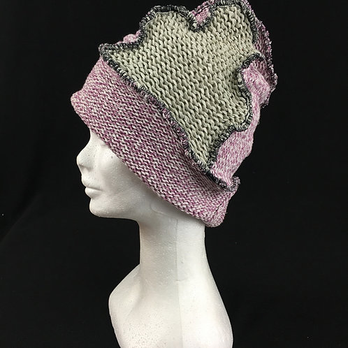 Light pink and cream upcycled winter hat