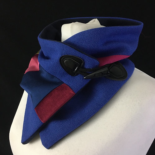 Deep blue and pink neck warmer