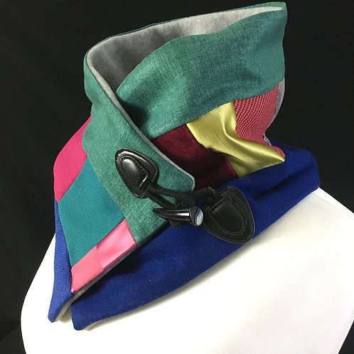 Green blue and pink neck warmer