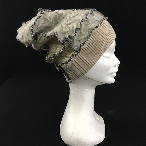 Grey and taupe upcycled hat