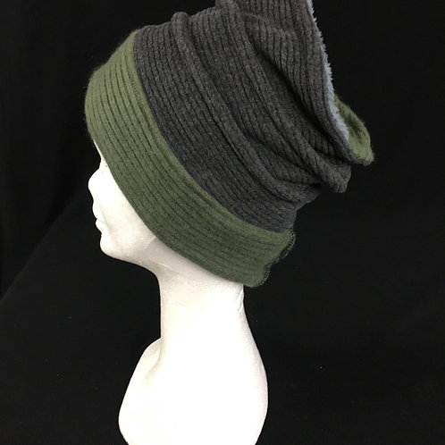 Grey and green soft fleece hat
