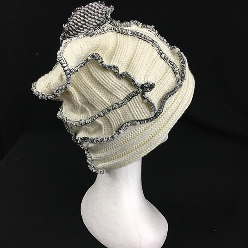 Upcycled cream knit hat