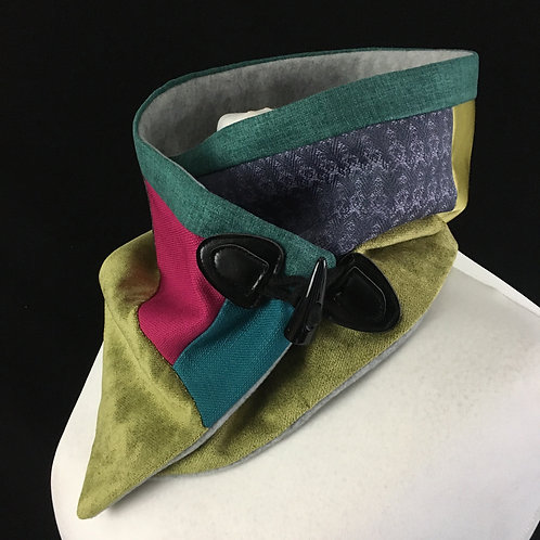 Lime purple pink and green neck warmer