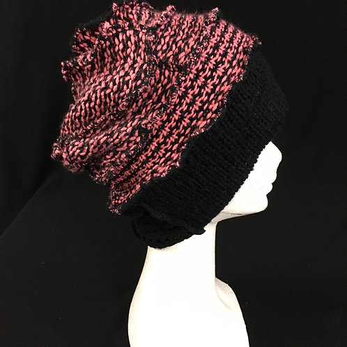 Pink and black beanie hat