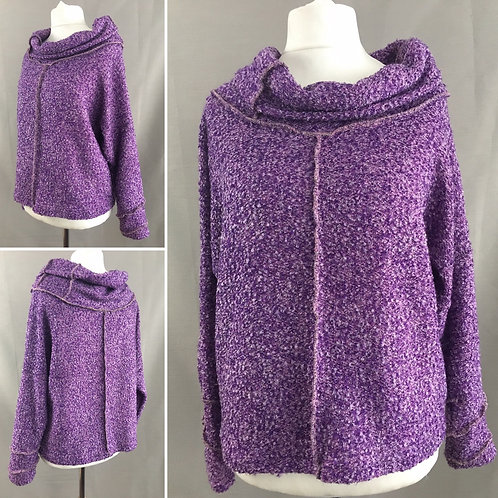 Cropped purple cowl neck sweater