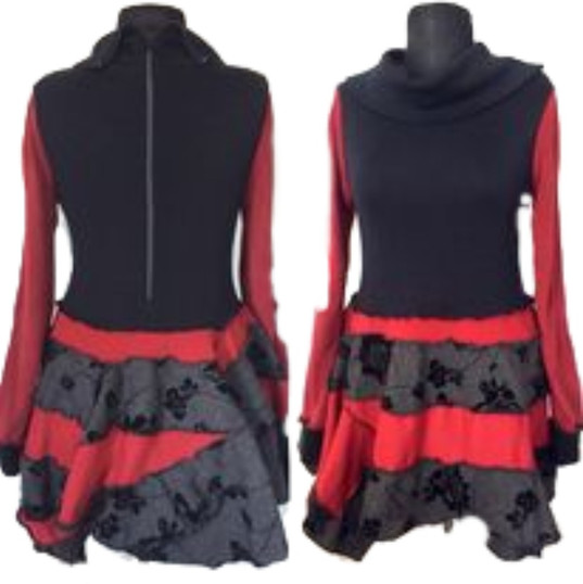 Red and black patchwork dress with long sleeves