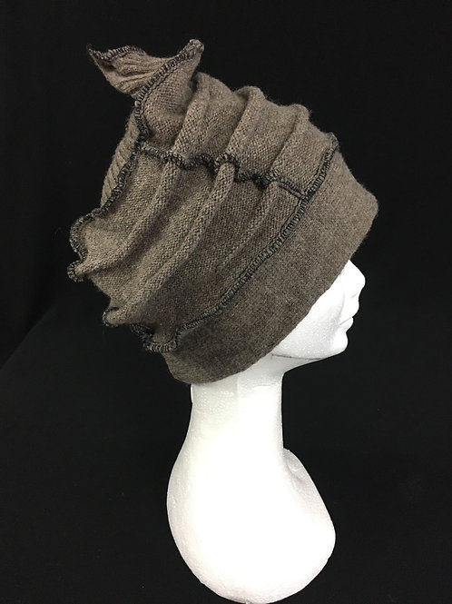Brown top stitched hat