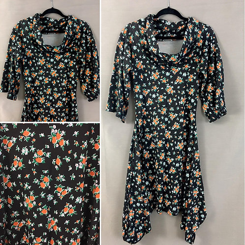 Black floral cowl neck dress