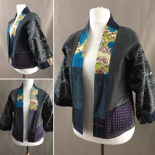 Grey patchwork kimono