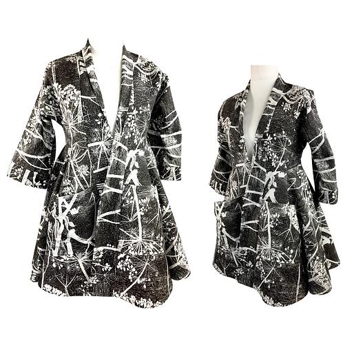 Black and white floral print circle skirt kimono jacket