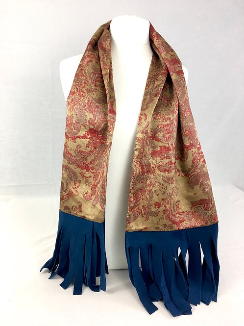 Floral and blue fleece scarf