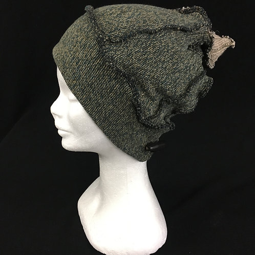 Green knit recycled winter hat