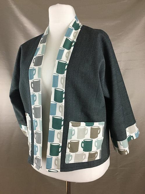 Steel blue kimono with teacup trim