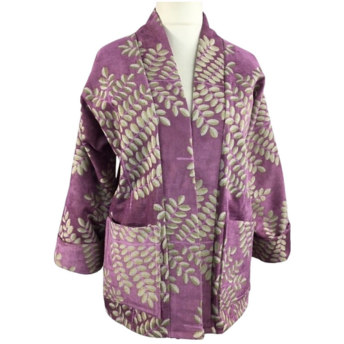 Lavender purple velvet kimono jacket