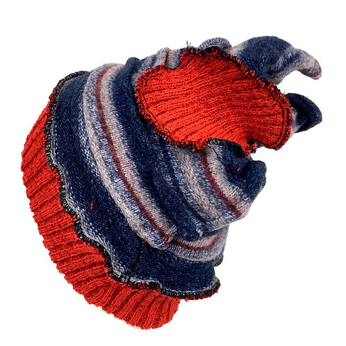 Navy striped upcycled knit hat with red accents