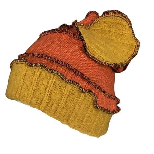 Vibrant upcycled burnt orange and yellow hat