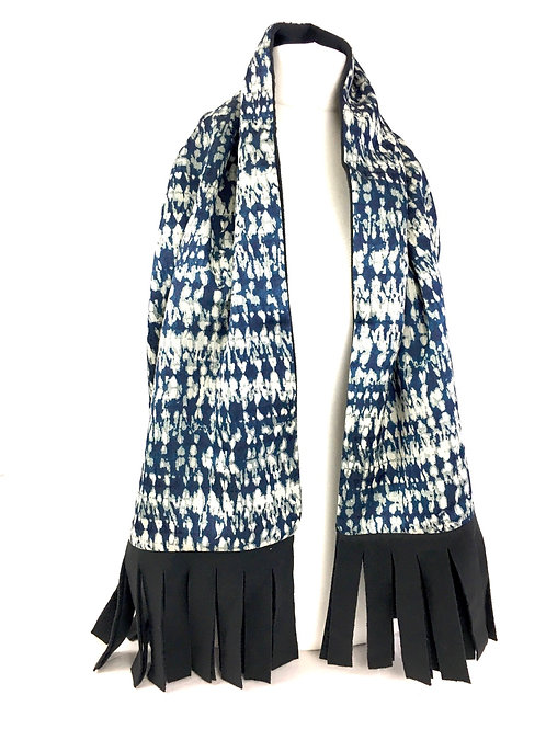 Blue and white print reversible scarf