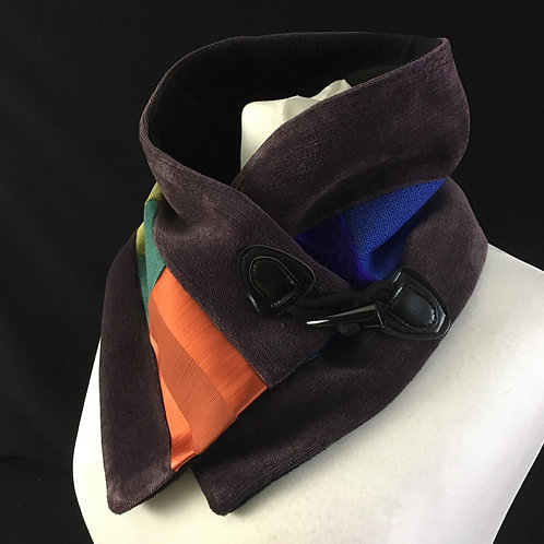 Purple orange and blue neck warmer