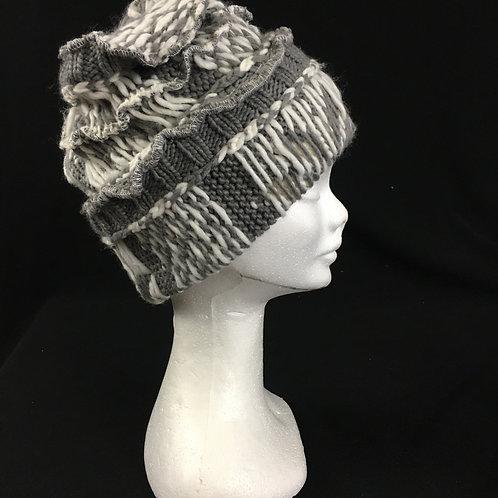 Grey chunky knit beanie hat