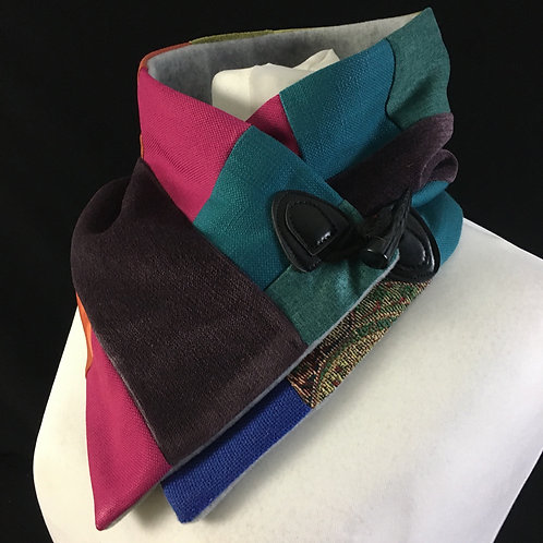 Purple blue and pink neckwarmer scarf